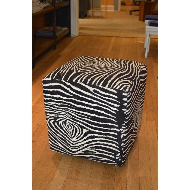 Faux Zebra Print Ottoman - Image 4 of 4