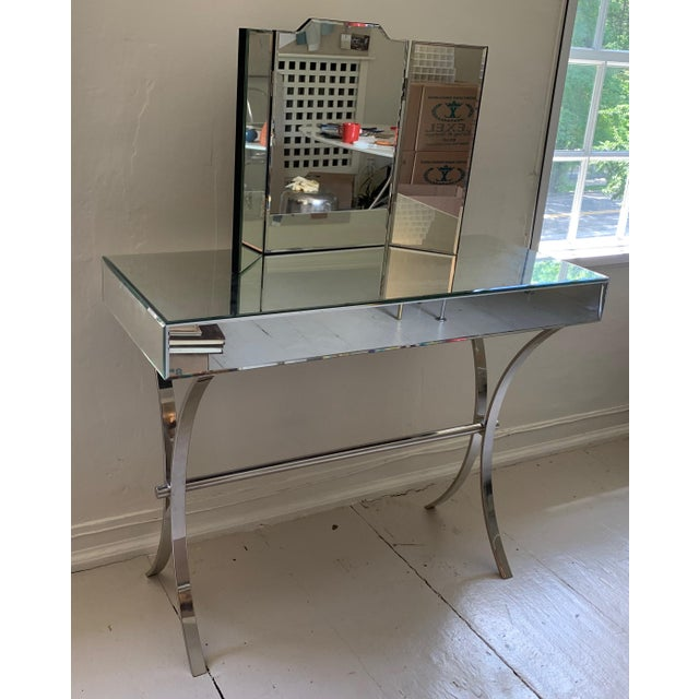 2010s Mercana Small Mirrored Console With Chrome Curule Legs For Sale - Image 5 of 7
