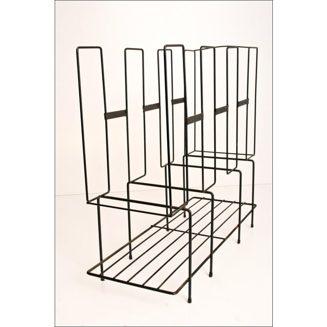 Mid-Century Modern Black Wire Record Rack For Sale - Image 9 of 11