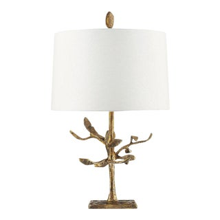 Audubon Park Nature Form Gold Plaster Table Lamp For Sale