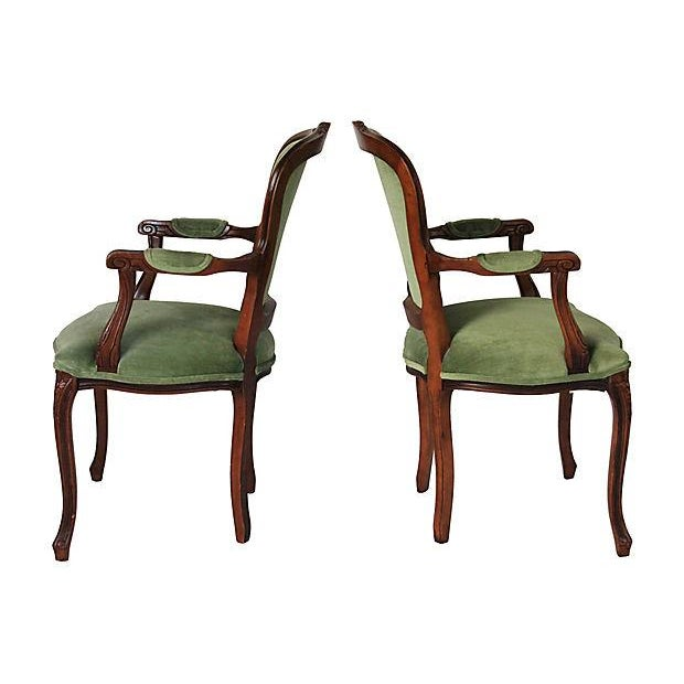 Upholstered Green Fauteuils - Pair - Image 5 of 10