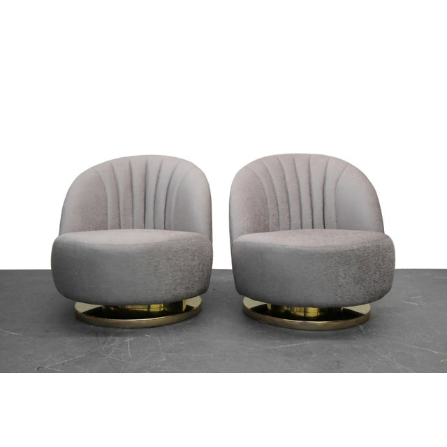 Mid Century Swivel Slipper Chairs with Brass Bases by Milo Baughman for Thayer Coggin - a Pair - Image 3 of 7