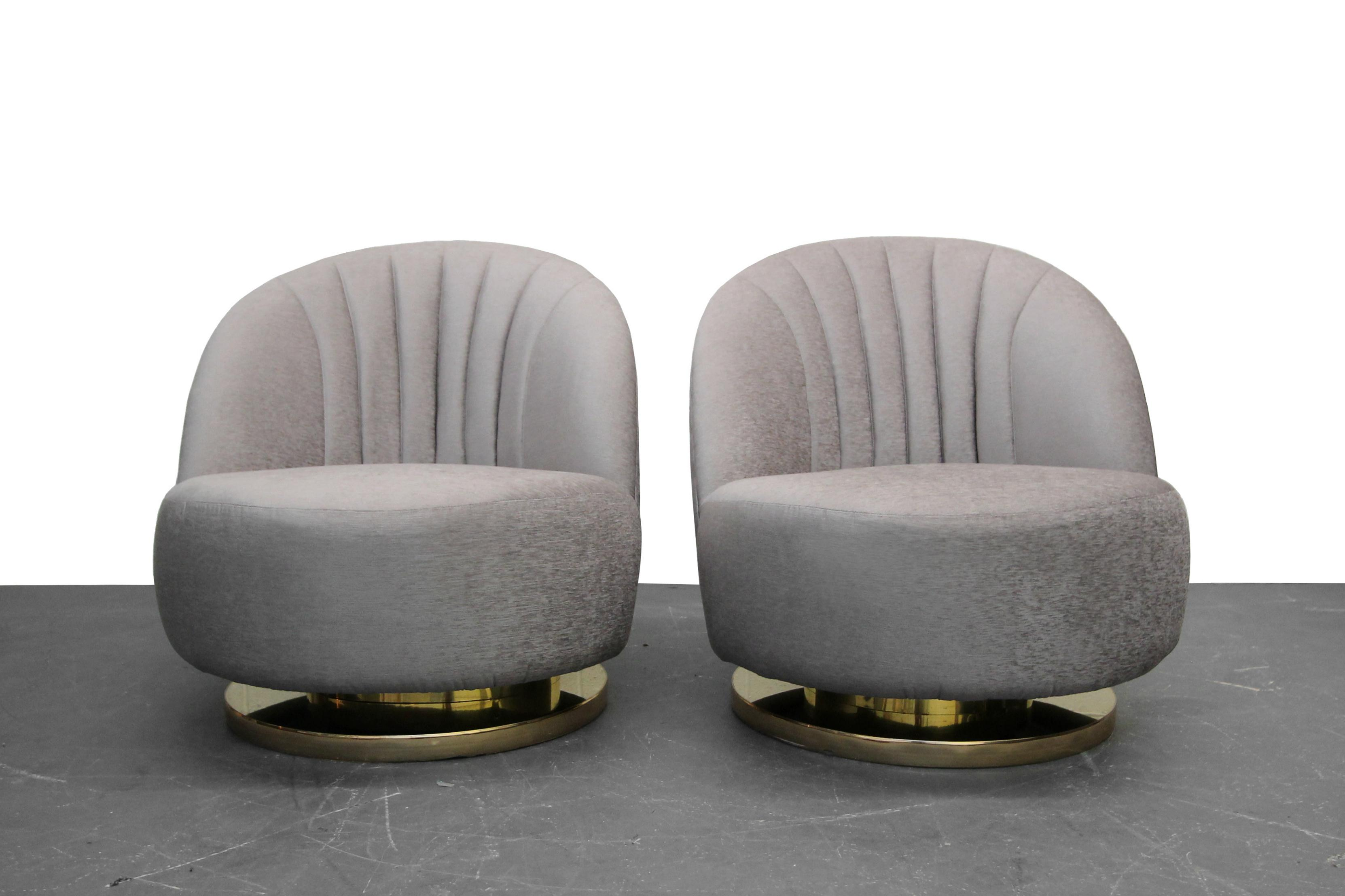 Mid Century Swivel Slipper Chairs With Brass Bases By Milo Baughman For  Thayer Coggin   A
