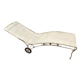Vintage Wrought Iron Rolling Chaise Lounge
