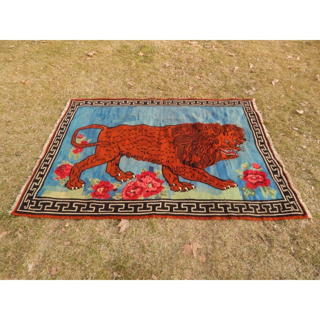 Vintage Gabbeh Lion Kilim Rug - 5'1'' X 7'3'' For Sale - Image 13 of 13