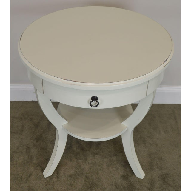 Paint Round White One Drawer Side Table For Sale - Image 7 of 13