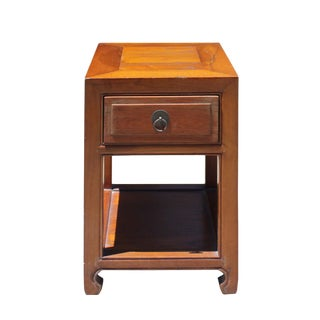 Chinese Oriental Brown Simple Ming Style End Table Nightstand For Sale