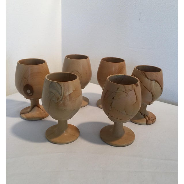 Natural Stone Onyx Carved Goblets - Set of 6 For Sale - Image 6 of 7