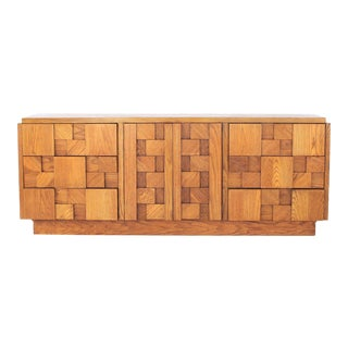 1970s Brutalist Lane 9-Drawer Low Dresser For Sale