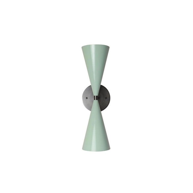 Blueprint Lighting Tuxedo Wall Sconce in Oil-Rubbed Bronze & Mint Green Enamel, Blueprint Lighting For Sale - Image 4 of 5