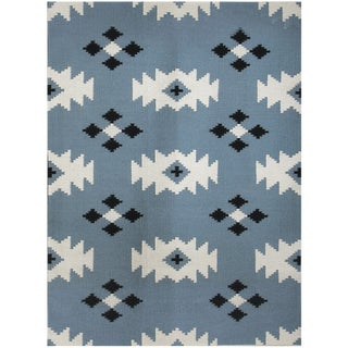 Zara Southwestern Blue Flat-Weave Rug 3'x5' For Sale