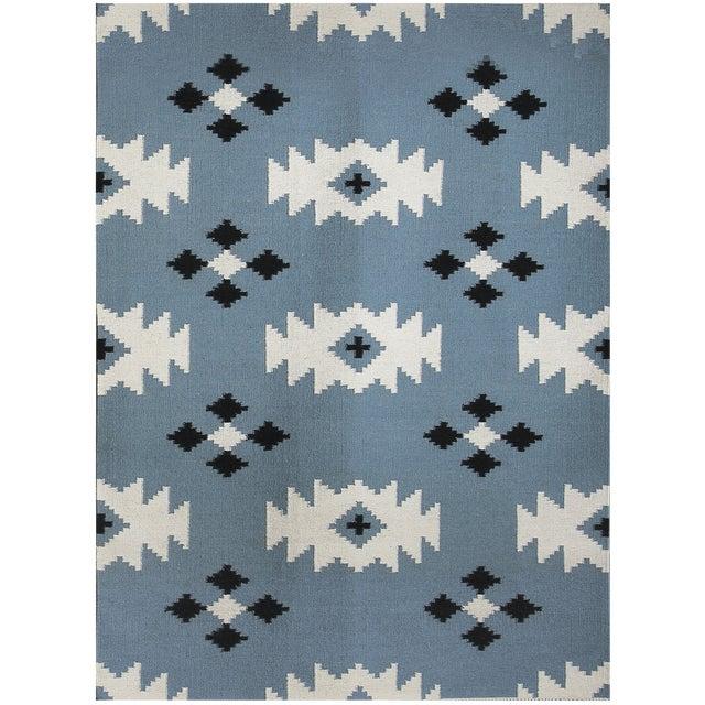 Zara Southwestern Blue Flat-Weave Rug 3'x5' For Sale
