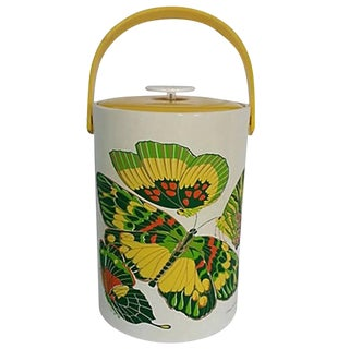"Vintage Georges Briard Large Thermal Lidded ""Butterflies"" Ice Bucket For Sale"