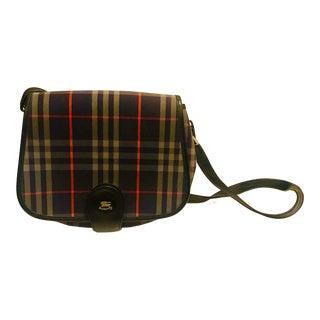 1980s New Vintage Burberry Plaid Shoulder Bag For Sale