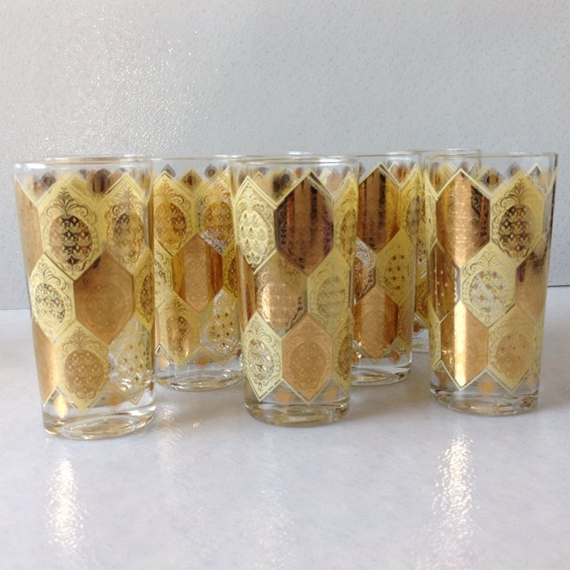 Mid-Century Gold Pineapple Tumblers - Set of 8 - Image 6 of 9