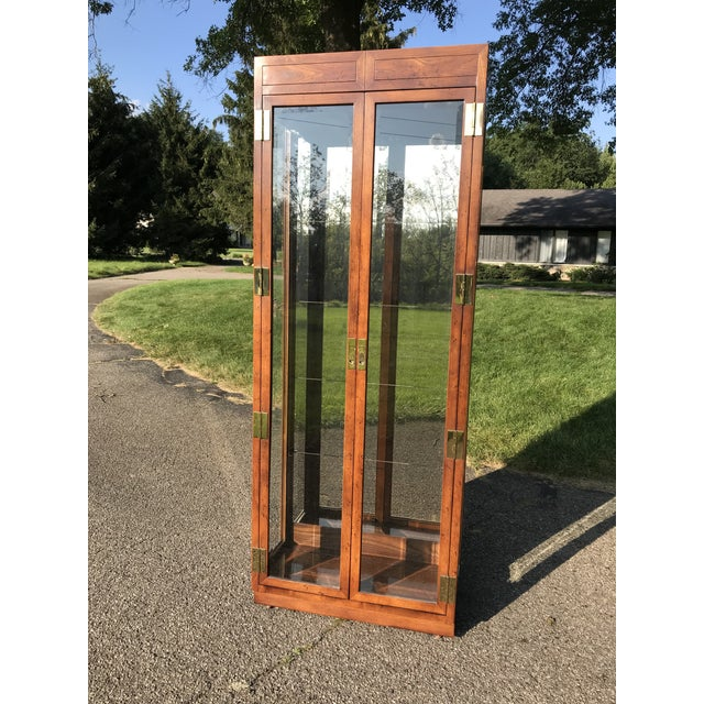 Oak and Glass Display Cabinet by Henredon For Sale - Image 10 of 10