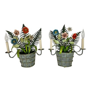 Country Garden 2 Light Sconces - a Pair For Sale