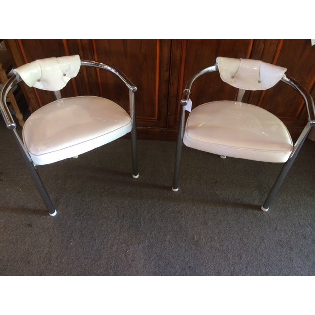 1960s Mid-Century Chrome & Patent Leather Chairs - S/4 For Sale - Image 5 of 5