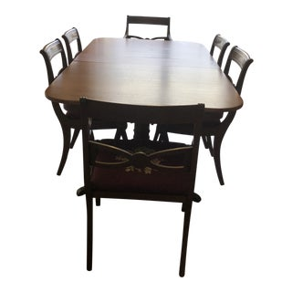 Antique Duncan Phyfe Mahogany Two Pedestal Dining Room Set For Sale