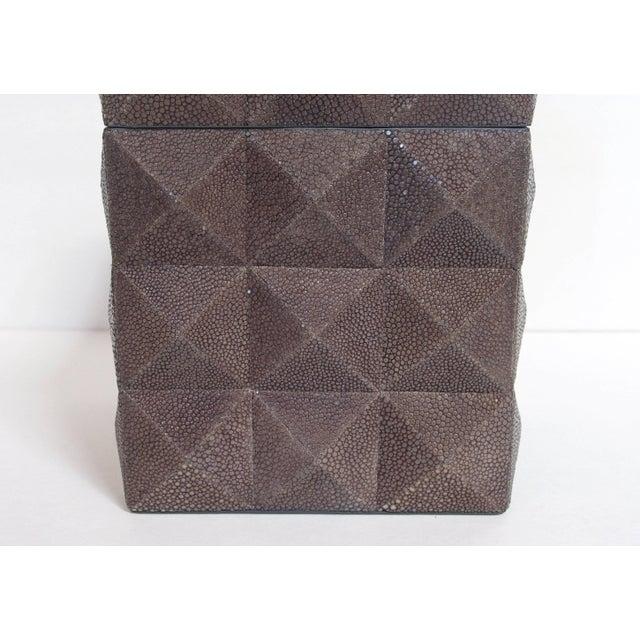 Fabio Ltd Pyramid Gray Shagreen Box by Fabio Ltd For Sale - Image 4 of 8