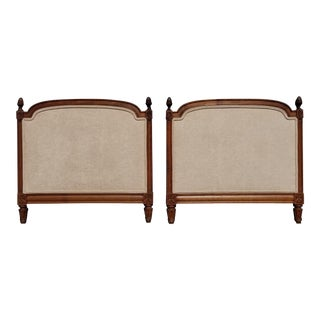 Pair of Vintage French Country Tan Twin Headboards Low Profile For Sale