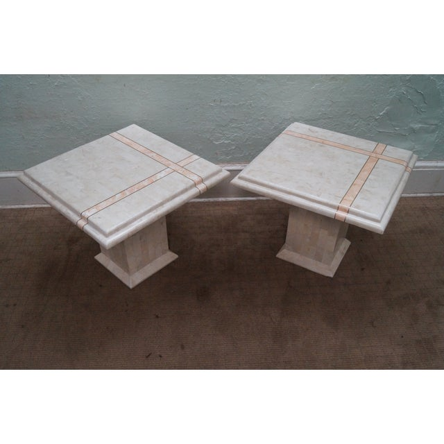 Country Maitland Smith Stone Marble Tables - A Pair For Sale - Image 3 of 10