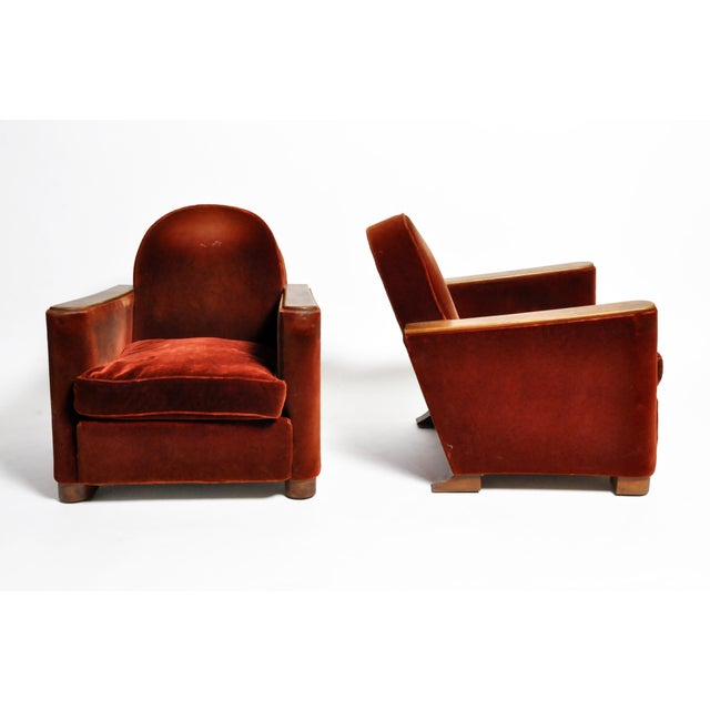 "Art Deco ""Streamline"" Chairs With Hardwood Arms and Legs - a Pair For Sale - Image 13 of 13"