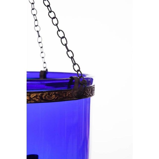 Southeast Asia Vintage Large Deep Indigo Blue Glass Bell Jar Pendant Light For Sale - Image 4 of 8