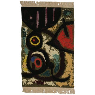 Late 20th Century Joan Miro Inspired Rug - 2′ × 2′11″ For Sale