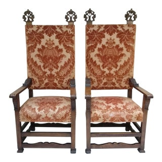 Early 20th Century Throne Chairs With Finials - Pair For Sale