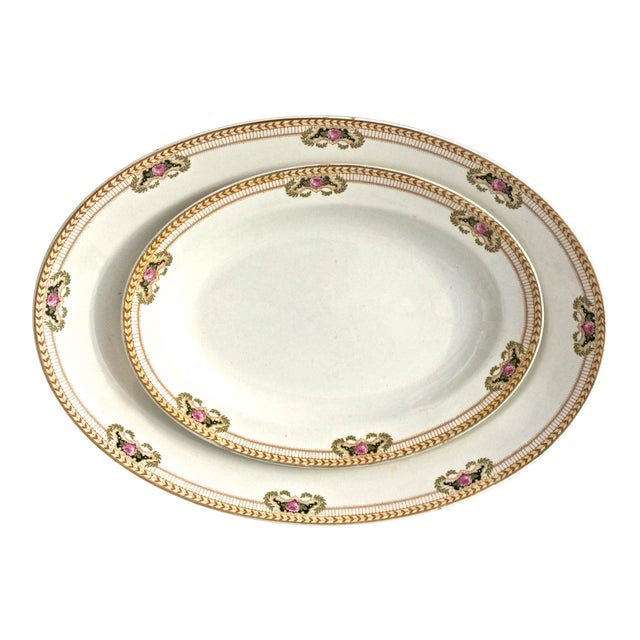 1940's Vintage English Serving Platters- A Pair For Sale