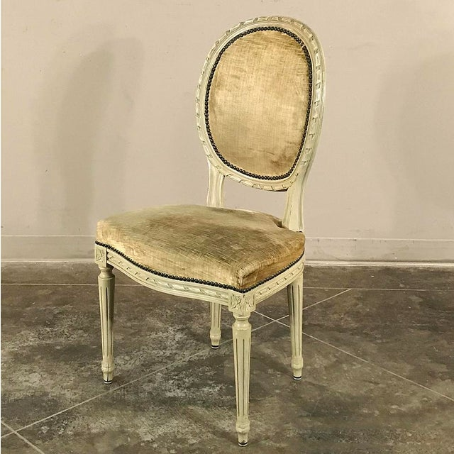 Louis XVI Set of 6 Antique French Painted Louis XVI Chairs For Sale - Image 3 of 13