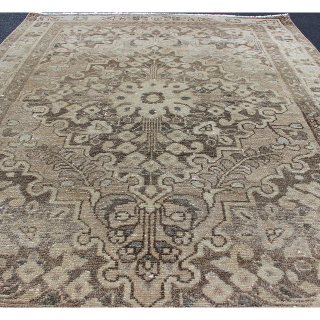 Textile Neutral Tone Vintage Persian Lilihan Rug With Medallion For Sale - Image 7 of 13
