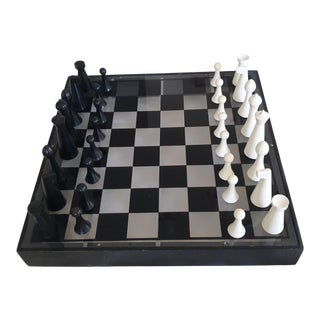 Modernist Chess Set Hermann Ohme and Acrylic Chess Board For Sale