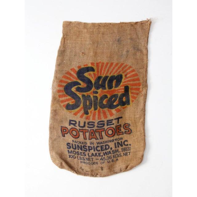 Vintage Burlap Potato Sack For Sale - Image 4 of 7