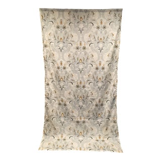 Blues & Gold Embroidery Linen Curtain Panel