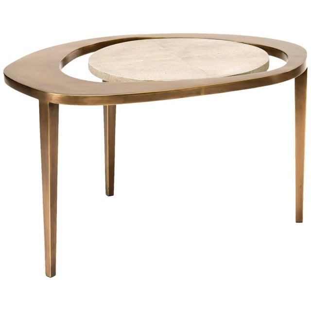Peacock Nesting Coffee Table in Cream Shagreen and Brass by R&y Augousti For Sale - Image 9 of 9
