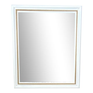 Vintage Late 20th Century White & Gold Wall Mirror For Sale