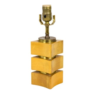 Vintage Oak Block and Brass Stacked Table Lamp For Sale