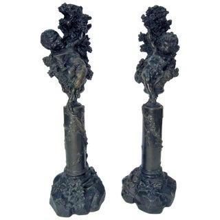 Italian Bronze Cherub/ Putti Candlesticks - a Pair For Sale