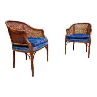 Vintage Chinoiserie Faux Bamboo Side Chairs ~ a Pair For Sale