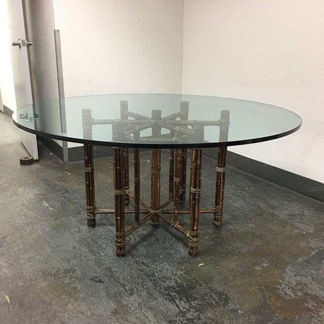McGuire Bamboo & Glass Dining Table - Image 2 of 8