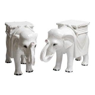 Italian White Elephant Garden Seat, A-Pair For Sale