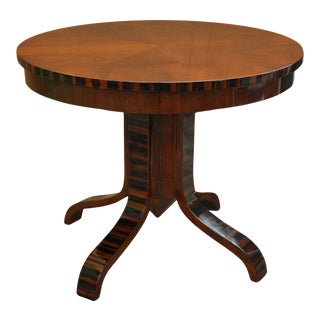 Art Deco Walnut Circular Side Table with Palissander Inlay and Pedestal Base For Sale