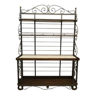 Dark Wood & Marble Baker's Rack For Sale