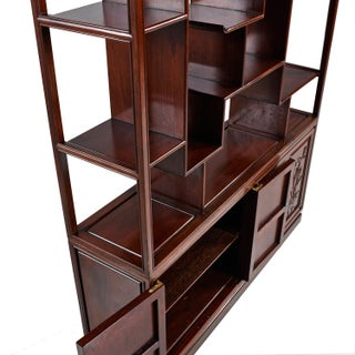 Asian Modern Freestanding Two-Piece Rosewood Room Divider Cabinet Bookshelf Preview