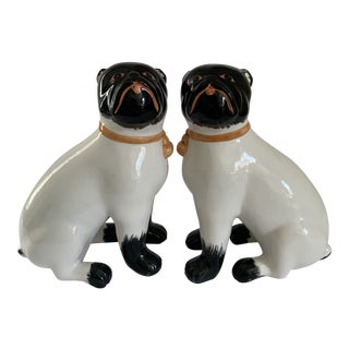 Italian Staffordshire Style Pugs - a Pair For Sale