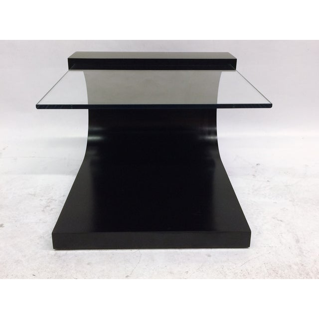 Waterfall Black Lacquer & Glass End Table For Sale - Image 5 of 5