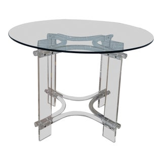 1970s Modern Round Lucite & Glass Dining Table For Sale