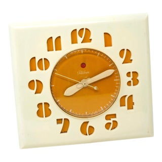 1950s Vintage Telechron Art Moderne Kitchen Wall Clock For Sale